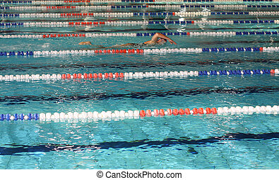 swimmer he trains in the Olympic pool ahead of competition