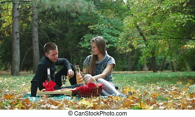 Couple Having Fun On Picnic - Happy young couple having fun...