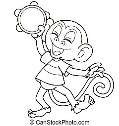Cartoon Monkey Playing a Tambourine - Cartoon monkey playing...