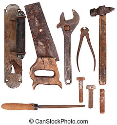 Treasures flea market - Old rusty iron tools and damaged...