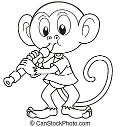 Cartoon Monkey Playing an Oboe - Cartoon monkey playing an...