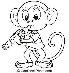Cartoon Monkey Playing an Oboe - Cartoon monkey playing an...