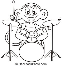 Cartoon Monkey Playing Drums.black and white