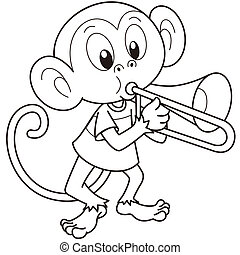 Cartoon Monkey Playing a Trombone - Cartoon monkey playing a...