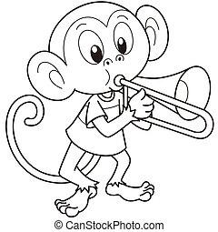 Cartoon Monkey Playing a Trombone - Cartoon monkey playing a...