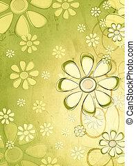 spring beige flowers over vintage green background
