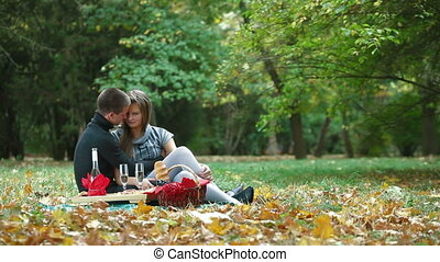 Couple Having Fun On Picnic - Happy young couple on a picnic...