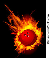 Bowling Fire Ball on black illustration