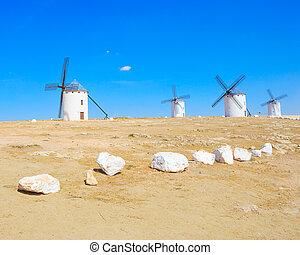 Four windmills. Campo de Criptana Castile La Mancha, Spain....