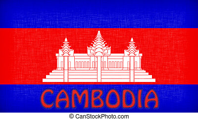Flag of Cambodia stitched with letters, isolated