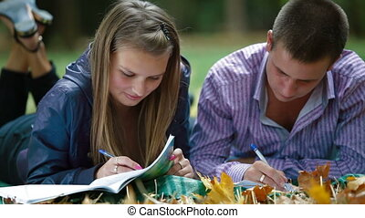 Friends studying in autumn park - Teenage students studying...