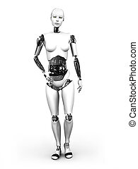 Robot woman standing nr 1. - A full body image of a robot...