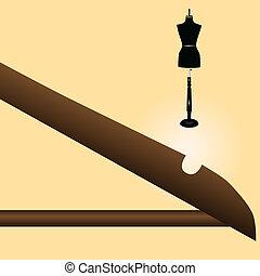Hanger and mannequin - Segment wooden hanger and mannequin...