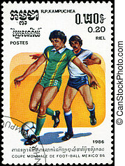 CAMBODIA - CIRCA 1986:stamp printed by Cambodia, shows 1986 World Cup Soccer Championships Mexico, circa 1986.