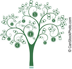 Money Tree isolated on White background Vector Illustration