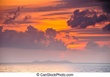 sea water on sunset background