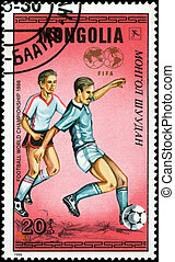 MONGOLIA - CIRCA 1986: A stamp printed by Mongolia, shows World Cup Soccer Championships, circa 1986