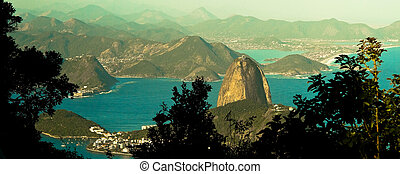 Sugarloaf mountain in Rio de Janeiro - High angle view of...