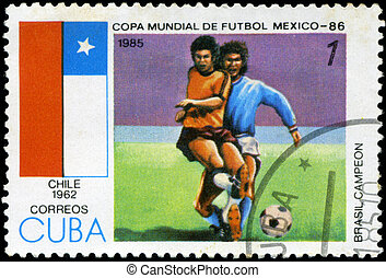 CUBA - CIRCA 1985: Stamp, printed in Cuba showing world championship on football in Mexico (in 1986), circa 1985