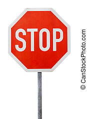Red stop sign on a metal pole against white background