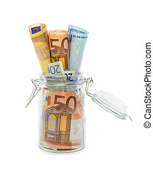 Banknotes in opened jar