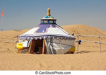 Mongolian Yurt in the Gobi Desert in the heat of the day