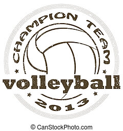 volleyball label - illustration of vintage volleyball sport...
