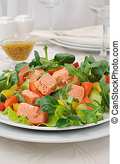 Vegetable salad with salmon - Vegetable salad with slices of...
