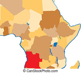 Angola marked in a map of africa