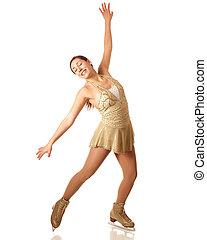 Figure Skater - Young adult figure skater. Studio shot over...