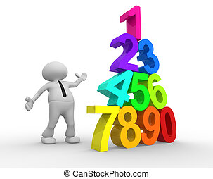 Numerals - 3d people - man, person and pyramid numerals