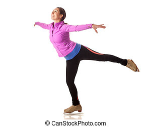 Figure Skater - Young adult figure skater. Studio shot over...