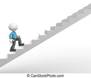 Businessman - 3d people - man, person climbing stairs To...