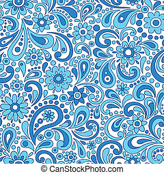 Paisley Flowers Seamless Pattern
