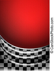Silk tissue in checkered on a red background, vector...