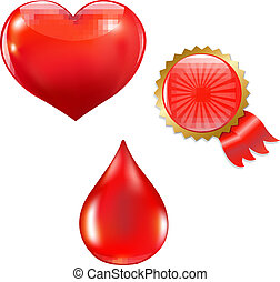 Collection With Blood Drop And Heart With Gradient Mesh,...