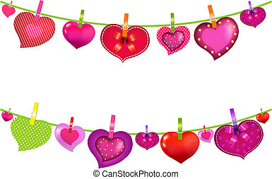 Color Hearts On Clothespegs With Gradient Mesh, Isolated On...
