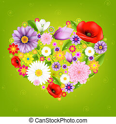 Heart From Flowers With Green Background With Gradient Mesh,...