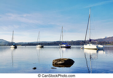 View of Lake Windermere with four boats - Tranquil view of...
