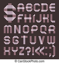 Font from lilac scotch tape - Roman alphabet A, B, C, D, E,...