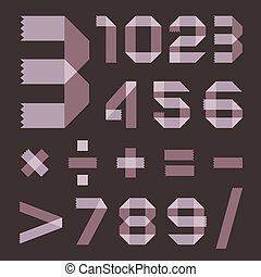 Font from lilac scotch tape - Arabic numerals (0, 1, 2, 3,...