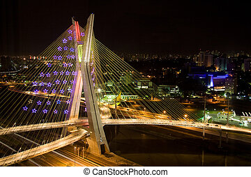 Awesome bridge lit up at night - Picture of an awesome...
