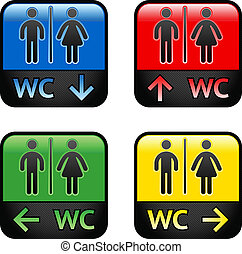 Restroom - colored stickers, vector illustration