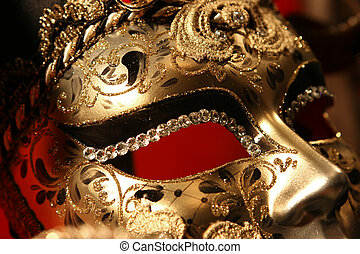 Venetian mask - Ornate handmade venetian mask on red...