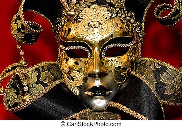 Venetian mask - Ornate handmade venetian mask on red...