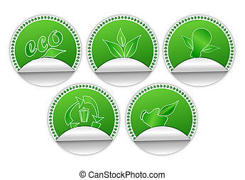 Environment Friendly Stickers - Set of five edge curl...