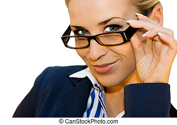 Business lady in glasses - Beautiful business lady on white...