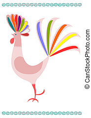 Folk rooster - Young colorful rooster on a white background...