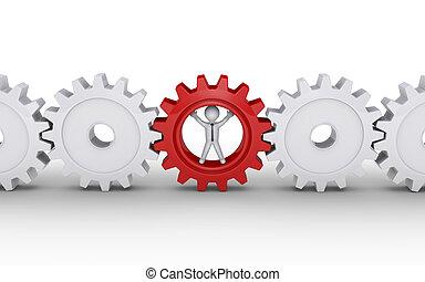 Businessman is part of machine - 3d businessman inside...