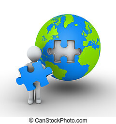 Person holding puzzle piece of earth - 3d person is holding...